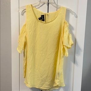 By&By Yellow Flutter Split Sleeve Cold Shoulder